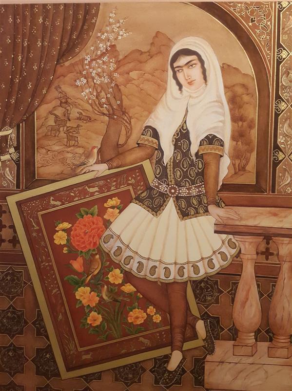هنر نقاشی و گرافیک محفل نقاشی و گرافیک مهرنوش مهرابی #نگارگری به شیوه قاجار#آبرنگ وگواش.