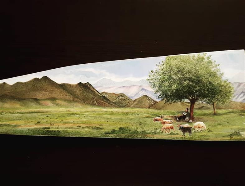 هنر نقاشی و گرافیک محفل نقاشی و گرافیک مهرنوش مهرابی #نگارگری....طبیعت به شیوه#پرداز #گواش#آبرنگ بروی استخوان شتر