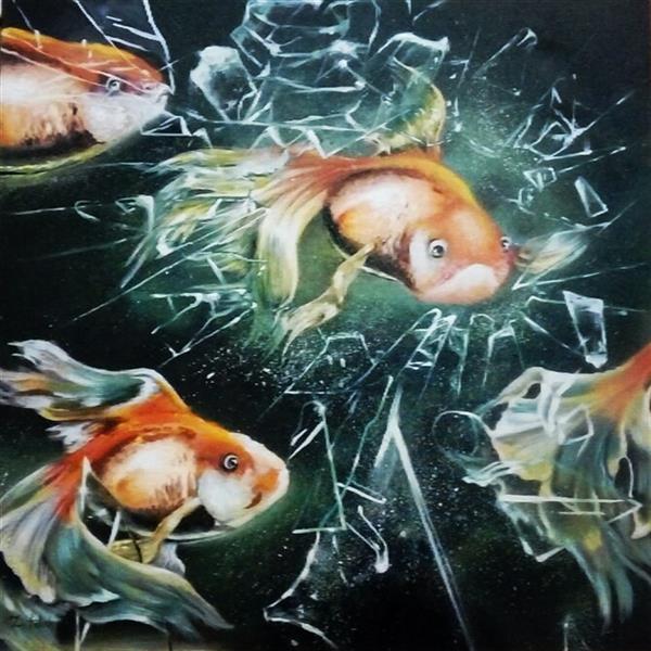 هنر نقاشی و گرافیک محفل نقاشی و گرافیک Zahra-arts #نام اثر:گریزماهی از شیشه #تکنیک:اکریلیک #ابعاد:50×50