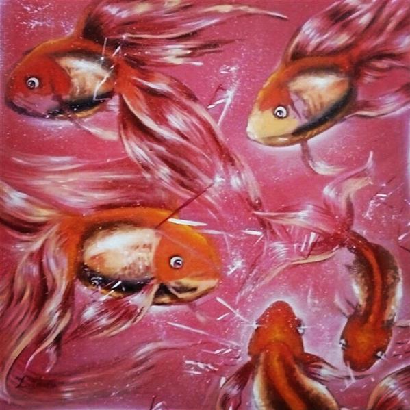 هنر نقاشی و گرافیک محفل نقاشی و گرافیک Zahra-arts #نام اثر:گریزماهی از شیشه #تکنیک:اکریلیک #ابعاد:40×40