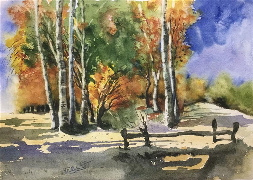 هنر نقاشی و گرافیک محفل نقاشی و گرافیک سمیه سادات سرکشیکیان پاییز رنگارنگ آبرنگ بر روی مقوا سایز ۲۸*۳۸ # آبرنگ، # پاییز، #طبیعت #رنگارنگ #نارنجی آبی