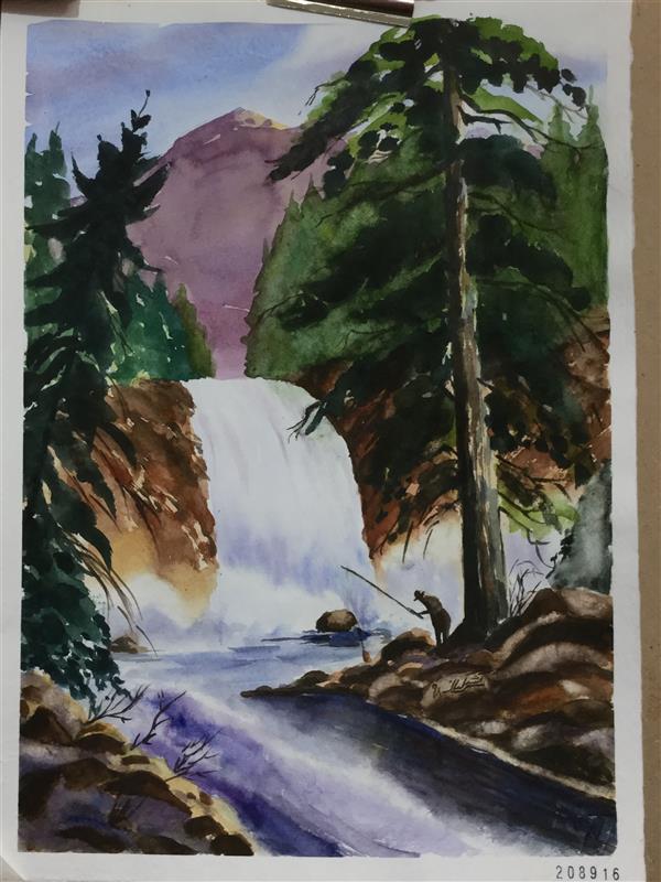 هنر نقاشی و گرافیک محفل نقاشی و گرافیک سمیه سادات سرکشیکیان آبشار در تابستان سایز ۳۸*۲۸ آبرنگ روی مقوا #تابستان #آبشار #کاج #صخره #ماهیگیر  #طبیعت #آبرنگ
