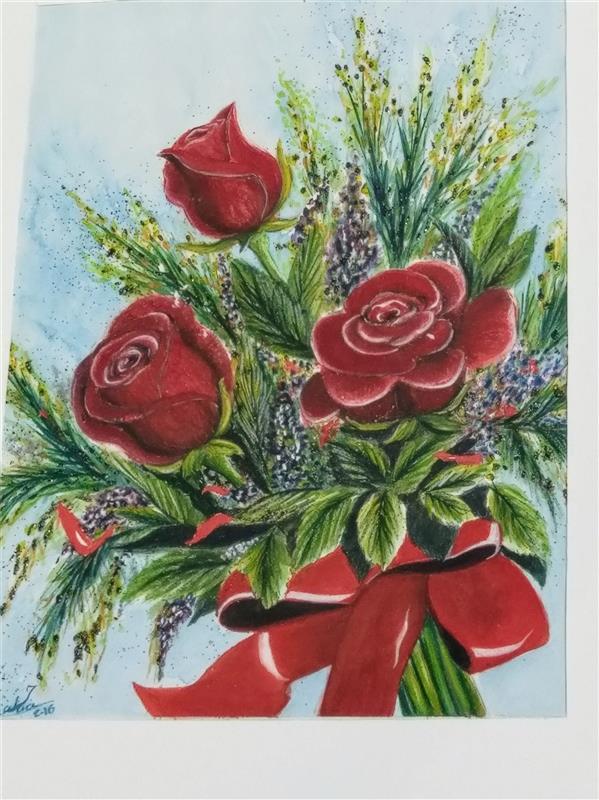 هنر نقاشی و گرافیک محفل نقاشی و گرافیک سمیه سادات سرکشیکیان #آبرنگ روی مقوا #گل رز رنگها و کاغذ با کیفیت #گل سرخ #تولد
