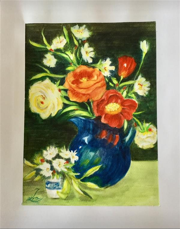 هنر نقاشی و گرافیک محفل نقاشی و گرافیک سمیه سادات سرکشیکیان #آبرنگ روی مقوا #گلدان گل #کیفیت رنگ و کاغذ عالی