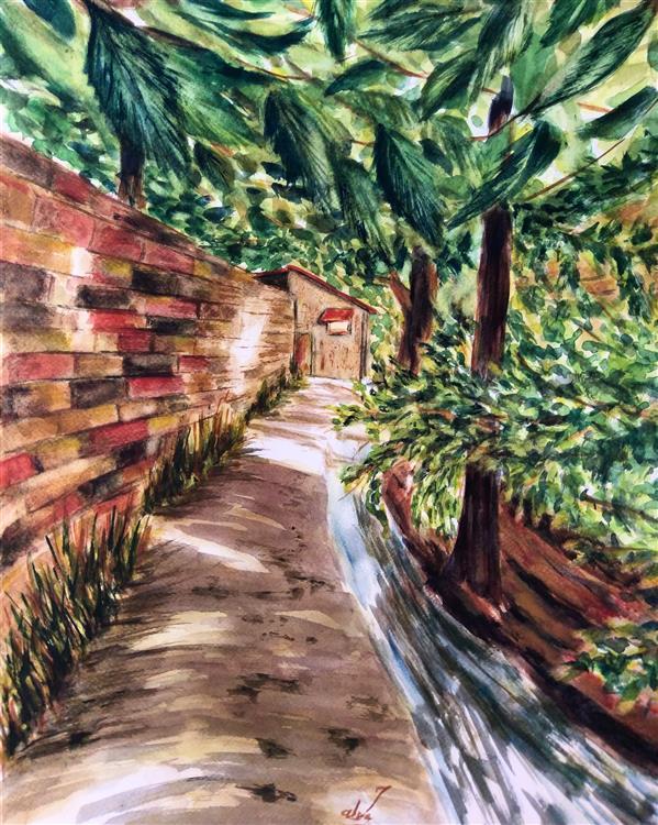 هنر نقاشی و گرافیک محفل نقاشی و گرافیک سمیه سادات سرکشیکیان #آبرنگ #مقوا 30*40 #بهار در کوچه باغ # سبز و سرخ # گرم و سرد # منظره خیس در خیس
