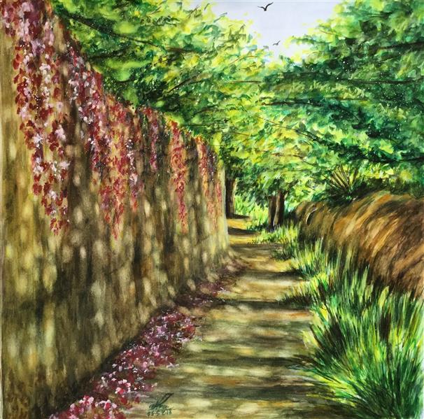 هنر نقاشی و گرافیک محفل نقاشی و گرافیک سمیه سادات سرکشیکیان #آبرنگ #مقوا #بهار #کوچه باغ #روستا #منظره #طبیعت #پرسپکتیو #سبز و صورتی #خیس در خیس