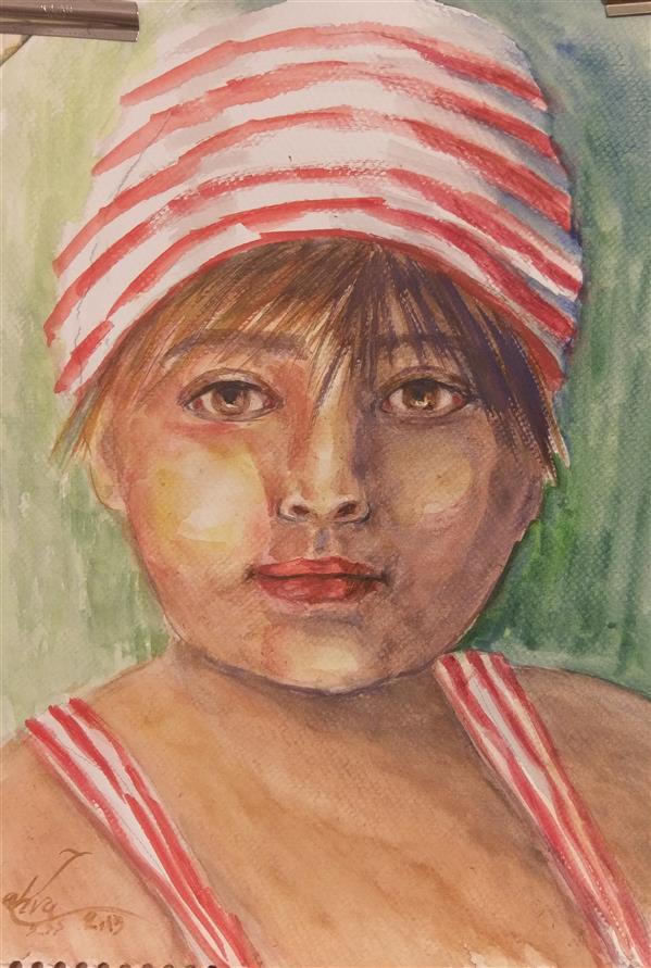 هنر نقاشی و گرافیک محفل نقاشی و گرافیک سمیه سادات سرکشیکیان 30*40 #پسری در سیرک #آبرنگ #پورتره #کودک #خیس در خیس