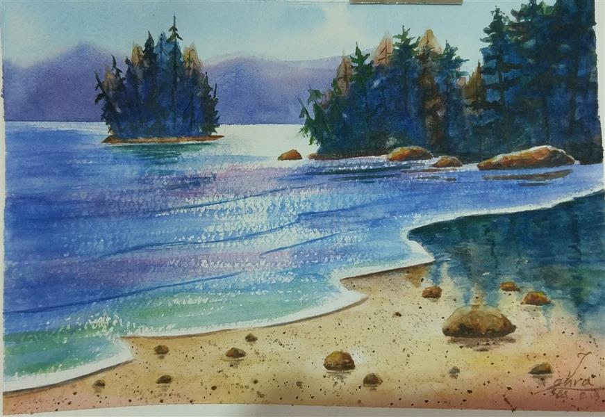 هنر نقاشی و گرافیک محفل نقاشی و گرافیک سمیه سادات سرکشیکیان #برکه #ساحل #دریا #دریاچه #جنگل #درخت #انعکاس نور #انعکاس آب #آبرنگ #خیس در خیس
