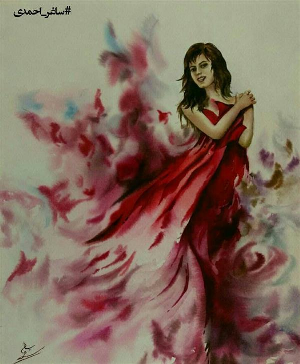 هنر نقاشی و گرافیک محفل نقاشی و گرافیک ساغراحمدی #watercolor #selfportrait