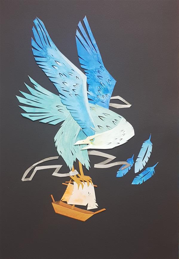 هنر نقاشی و گرافیک محفل نقاشی و گرافیک سید علی ریحانی شرق #پرنده #عقاب #کلاژ #مقوا_رنگی #آبرنگ 42 در 30 سانتیمتر همراه با قاب برگرفته از کار هنرمند کانادایی (مورگانا والاس)