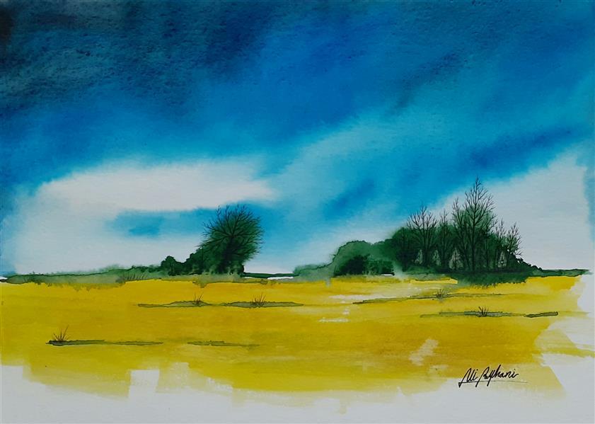 هنر نقاشی و گرافیک محفل نقاشی و گرافیک سید علی ریحانی شرق #آبرنگ #مزرعه #افق #آسمان ابعاد اثر: 23*32 متریال: آبرنگ همراه با حاشیه 6 سانتیمتری و قاب پی وی سی 3 سانتیمتری سفید