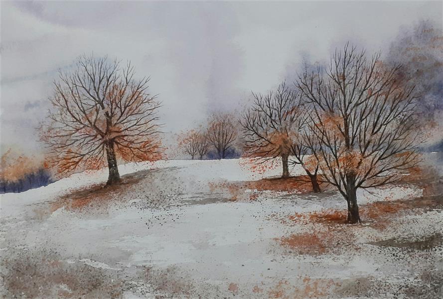هنر نقاشی و گرافیک محفل نقاشی و گرافیک سید علی ریحانی شرق #آبرنگ #درختان #پاییز # برف ابعاد اثر: 23*32 متریال: آبرنگ همراه با حاشیه 6 سانتیمتری و قاب پی وی سی 3 سانتیمتری سفید