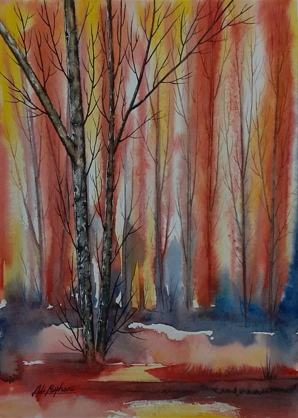 هنر نقاشی و گرافیک محفل نقاشی و گرافیک سید علی ریحانی شرق #آبرنگ #درختان #پاییز #جنگل ابعاد اثر: 23*32 متریال: آبرنگ همراه با حاشیه 6 سانتیمتری و قاب پی وی سی 3 سانتیمتری سفید