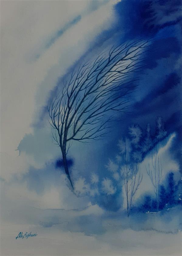 هنر نقاشی و گرافیک محفل نقاشی و گرافیک سید علی ریحانی شرق #آبرنگ #درختان #سرما #برف ابعاد اثر: 23*32 متریال: آبرنگ همراه با حاشیه 6 سانتیمتری و قاب پی وی سی 3 سانتیمتری سفید