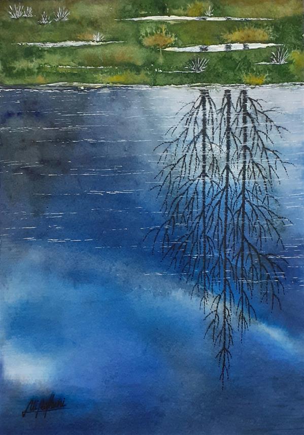 هنر نقاشی و گرافیک محفل نقاشی و گرافیک سید علی ریحانی شرق #آبرنگ #آسمان #انعکاس #درختها ابعاد اثر: 23*32 متریال: آبرنگ همراه با حاشیه 6 سانتیمتری و قاب پی وی سی 3 سانتیمتری سفید