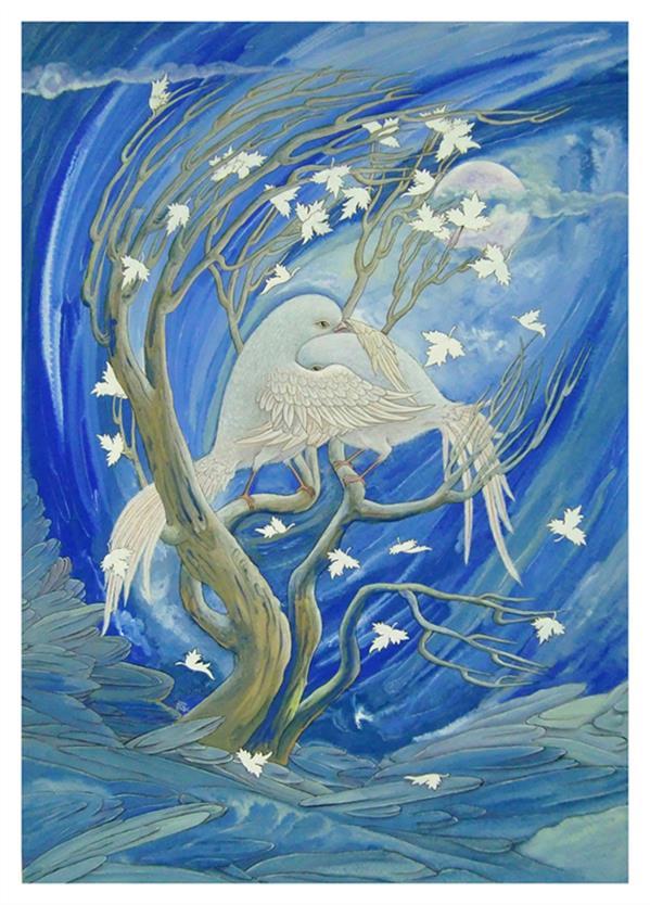 هنر نقاشی و گرافیک محفل نقاشی و گرافیک سید علی ریحانی شرق #وداع #عشق #پرنده #نگارگری گواش وینزور ، مقوای 400 گرمی، 1380، وداع، سید علی ریحانی شرق