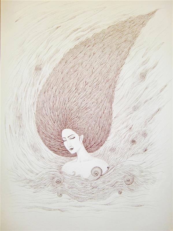 هنر نقاشی و گرافیک محفل نقاشی و گرافیک سید علی ریحانی شرق #درخت #کاج #دختر #سورئالیسم مقوا، روان نویس،1394،دختر کاج،سید علی ریحانی شرق