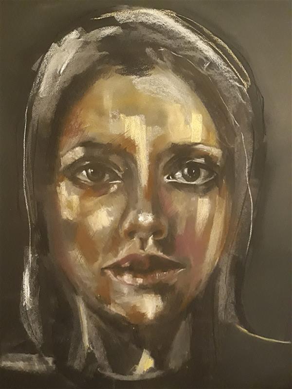 هنر نقاشی و گرافیک محفل نقاشی و گرافیک حسنلو ((طراحیِ چهره کاملا ذهنی)) #پرتره #پاستل_گچی ، زمینه مشکی ، ابعاد 100×70 ، اثر #اورجینال