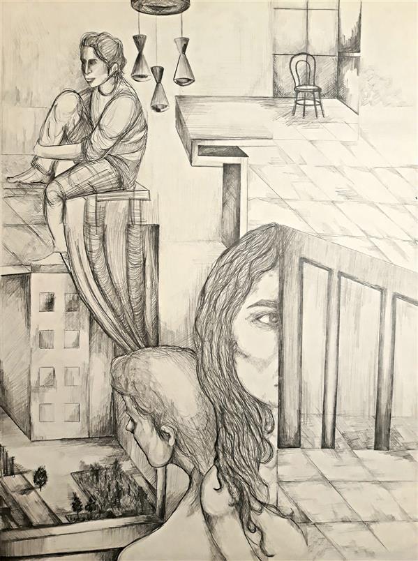 هنر نقاشی و گرافیک محفل نقاشی و گرافیک حسنلو ۲.روزمرگی:(انتظار) ، #نقاشی #طراحی_ذهنی #مداد  ابعاد: 50×70 #اورجینال