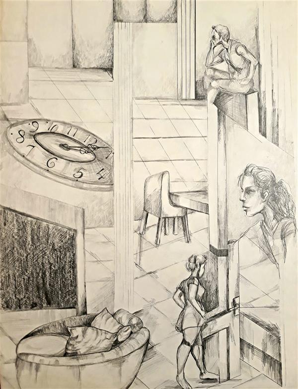 هنر نقاشی و گرافیک محفل نقاشی و گرافیک حسنلو ۱.روزمرگی:(تکرار تنهایی) ، #نقاشی #طراحی_ذهنی #مداد  ابعاد: 50×70 #اورجینال