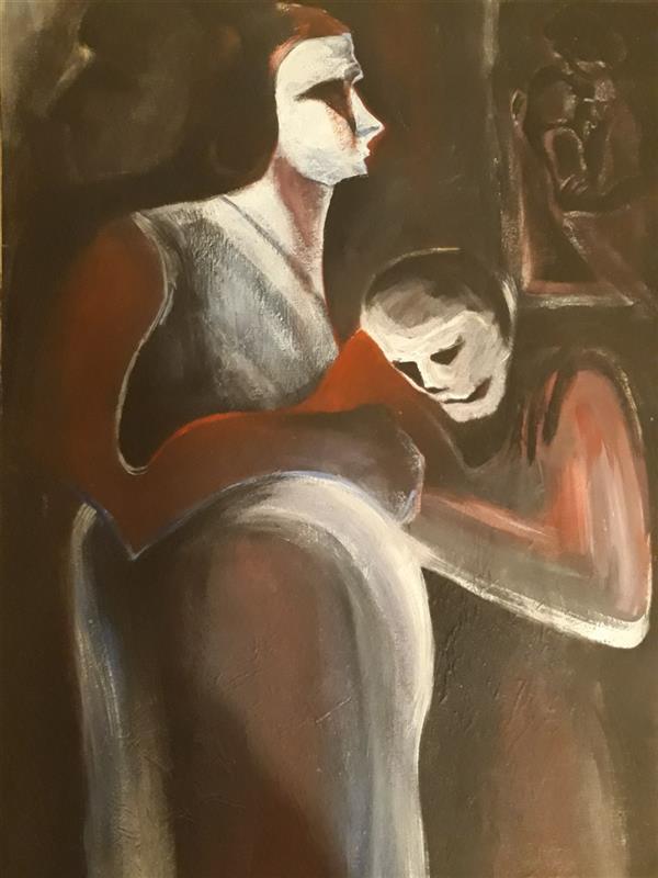 هنر نقاشی و گرافیک محفل نقاشی و گرافیک حسنلو عنوان اثر: مادر  #نقاشی #رنگ_اکریلیک ابعاد ۵۰×۷۰، اورجینال