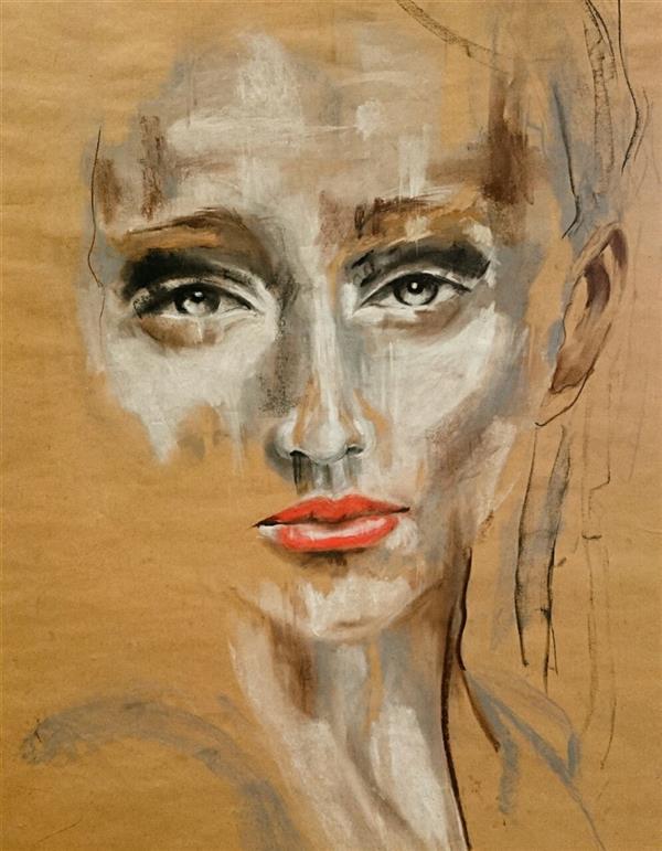 هنر نقاشی و گرافیک محفل نقاشی و گرافیک حسنلو #پرتره #پاستل_گچی کاغذ گراف 70×70 #اورجینال