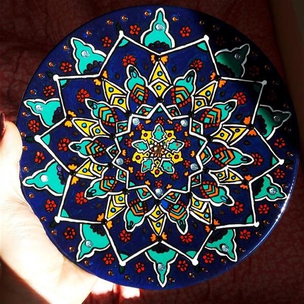 هنر نقاشی و گرافیک محفل نقاشی و گرافیک صدف یوسفی #نقاشی_روی_سفال #طرح_سنتی  #قطر_30