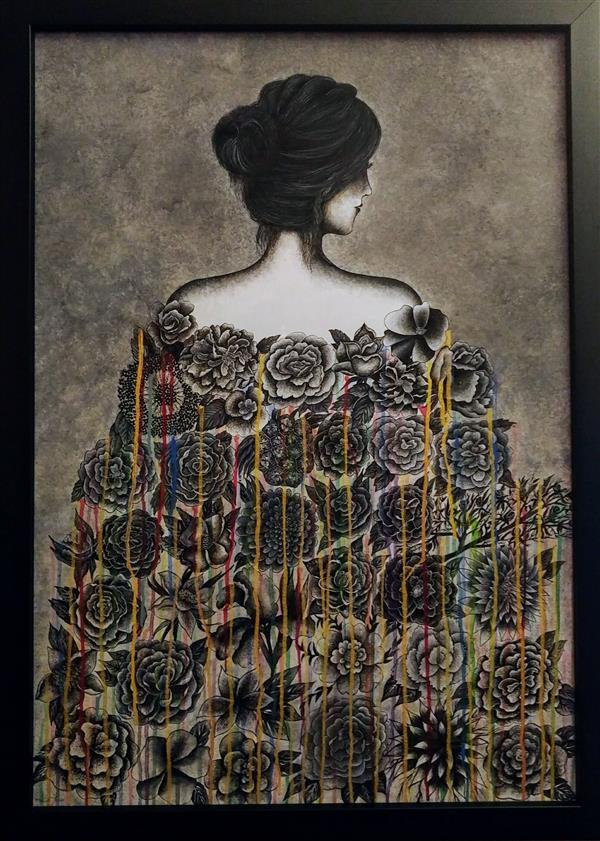 هنر نقاشی و گرافیک محفل نقاشی و گرافیک سارا دیانت نقاشی مدرن با تکنیک گل و مرغ ابعاد 100*70