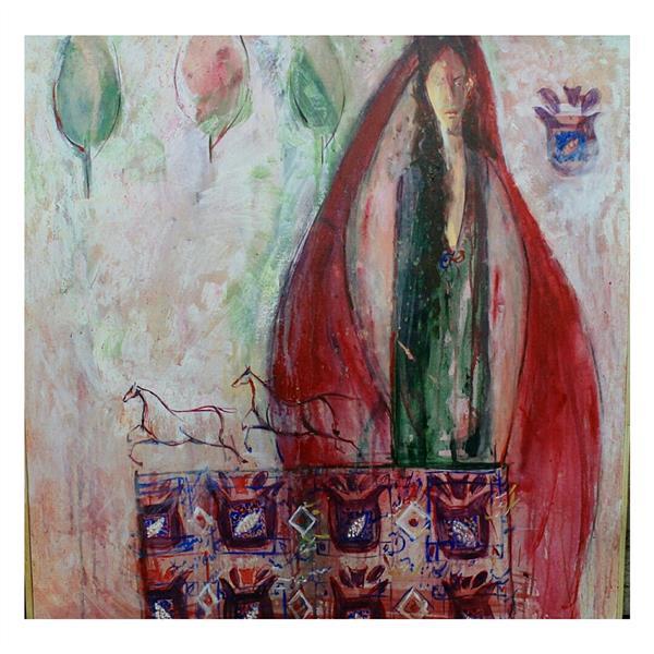 هنر نقاشی و گرافیک محفل نقاشی و گرافیک شقایق  سایز اثر 100×100 نام اثر میترا( زن و اسب)