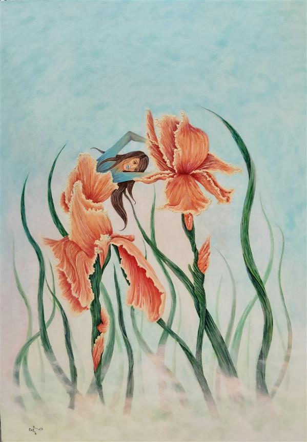 هنر نقاشی و گرافیک محفل نقاشی و گرافیک شبنم خروجی نام اثر: ژین, ابعاد 50x70  روی بوم دیپ, تکنیک اکریلیک, شرکت داده شده در نمایشگاه هپا