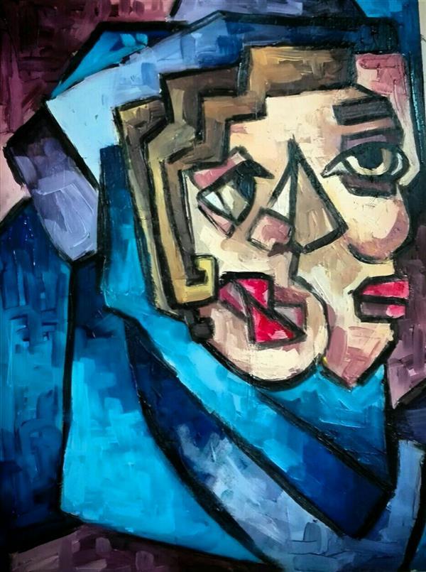 هنر نقاشی و گرافیک محفل نقاشی و گرافیک شبنم خروجی رنگ روغن روی فیبر , سبک کوبیسم