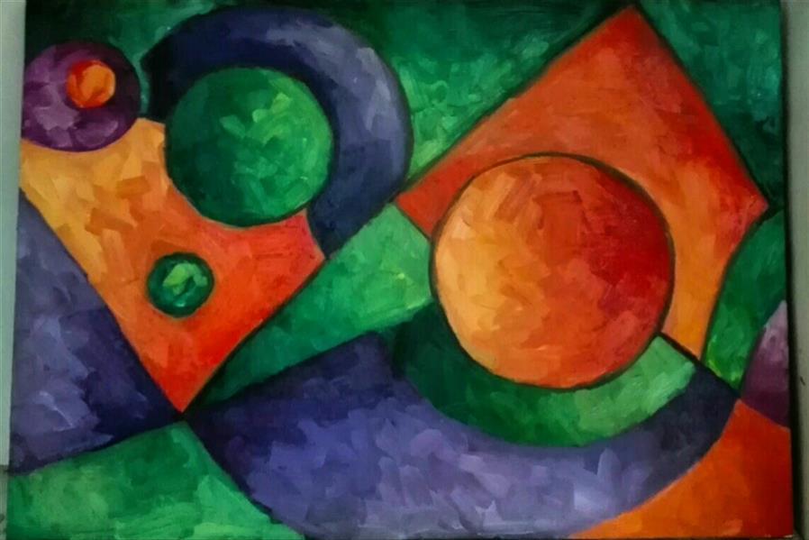 هنر نقاشی و گرافیک محفل نقاشی و گرافیک شبنم خروجی سبک کوبیسم , رنگ روغن , روی بوم