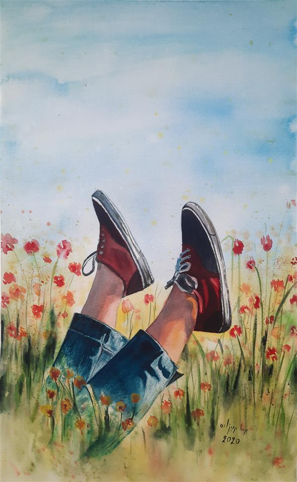 هنر نقاشی و گرافیک محفل نقاشی و گرافیک Mahsa mehdizadeh #آبرنگ #مهسامهدیزاده #1399 #رهایی #38*56 سانتی متر