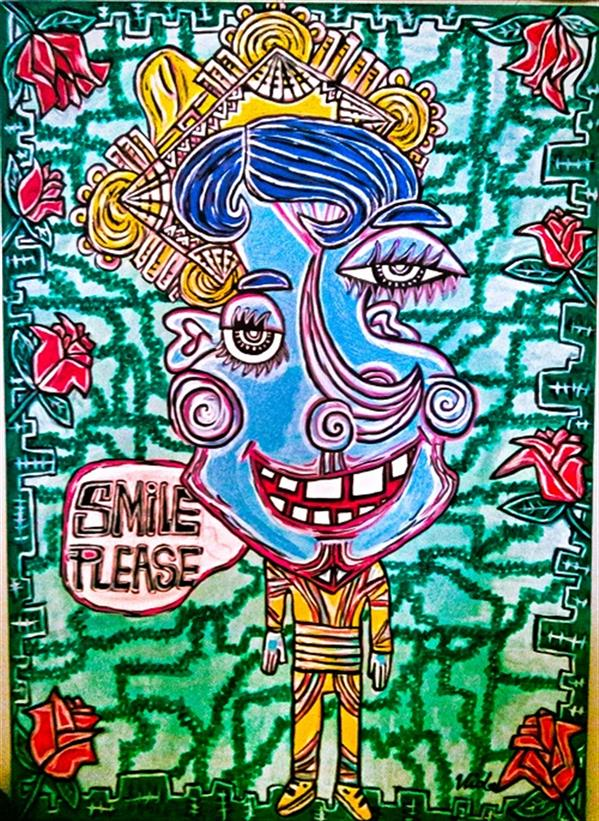 هنر نقاشی و گرافیک محفل نقاشی و گرافیک vida nooralipoor #لبخند. رنگ اکریلیک روی بوم 70 در 50
