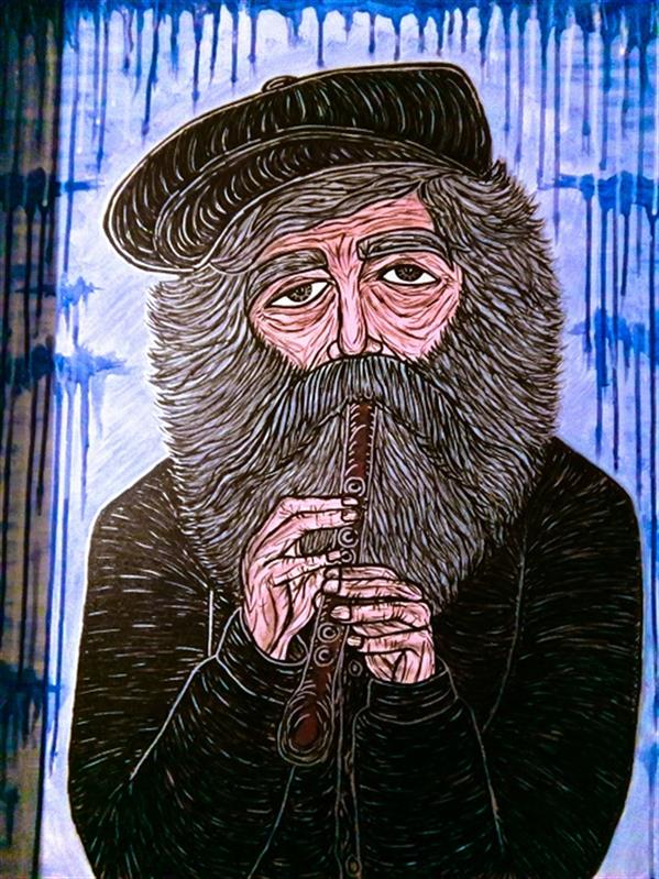 هنر نقاشی و گرافیک محفل نقاشی و گرافیک vida nooralipoor #پیرمرد فلوت زن .  رنگ اکریلیک روی بوم 60 در 70