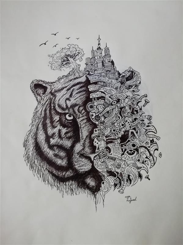 هنر نقاشی و گرافیک محفل نقاشی و گرافیک arya-m #doodleart #rapid #blackandwhite #tiger #artistic #paper #life