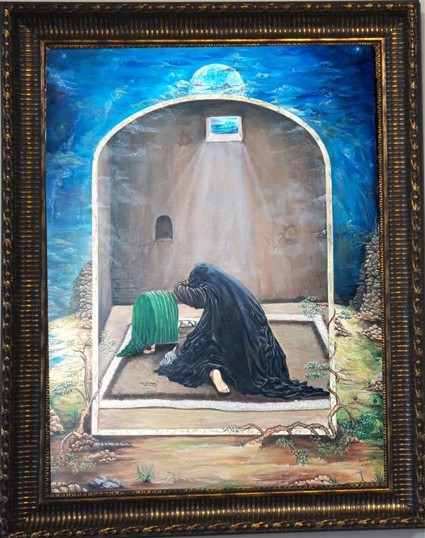 هنر نقاشی و گرافیک محفل نقاشی و گرافیک محمدرسول حسنیار نام اثر مادر عاشورا ابعاد 70/50 سانت تکنیک مینیاتور رنگ و روغن