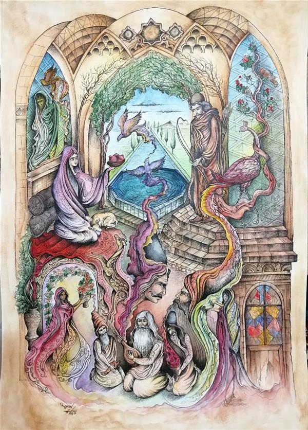 هنر نقاشی و گرافیک محفل نقاشی و گرافیک سامان ملک پور ۵۰*۷۰  تکنیک راپید و آبرنگ #ذهنی تجسمی