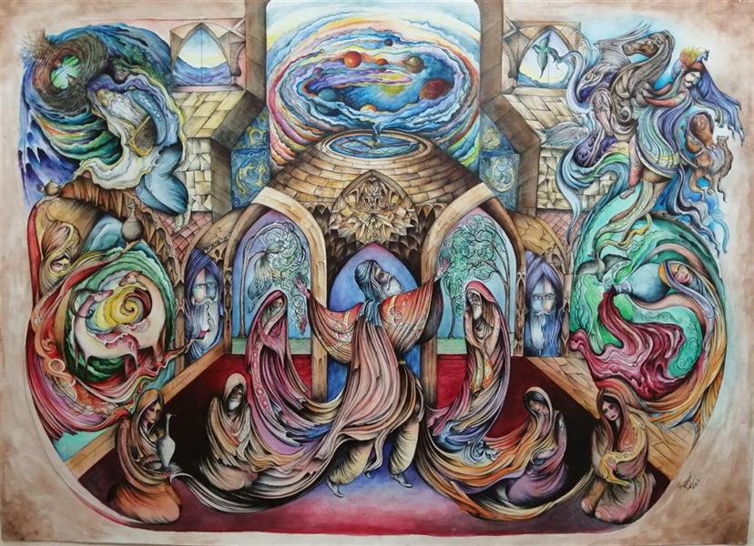 هنر نقاشی و گرافیک محفل نقاشی و گرافیک سامان ملک پور #نقاشی ذهنی تجسمی متریال آبرنگ، راپید و خودکار روی مقوا سایز اثر ۱۰۰*۷۰