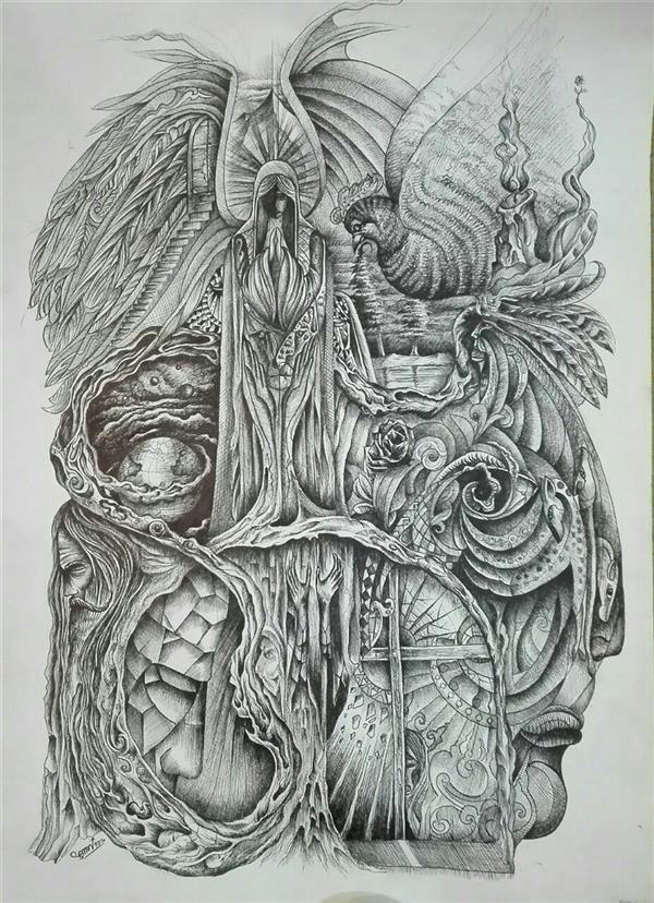 هنر نقاشی و گرافیک محفل نقاشی و گرافیک سامان ملک پور نقاشی ذهنی تجسمی با راپید وخودکار ناماثر تلاطم ابعاد ۵۰ در ۷۰