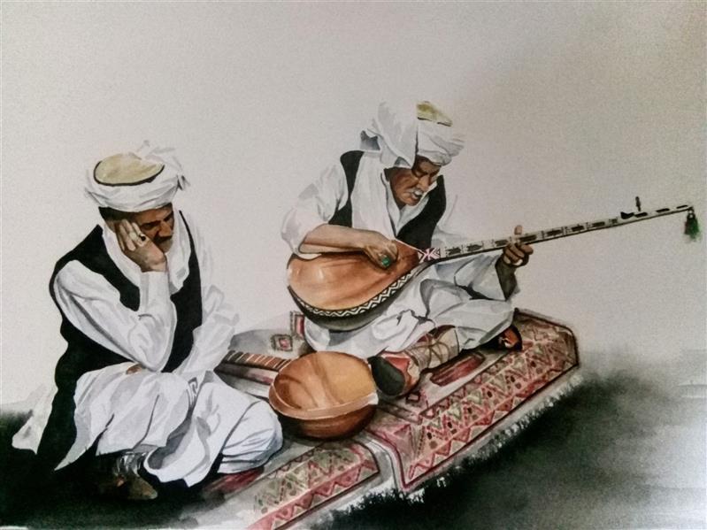 هنر نقاشی و گرافیک محفل نقاشی و گرافیک حامد دوتار نوازان( اورجینال)- آبرنگ روی مقوا- ۳۵×۵۰