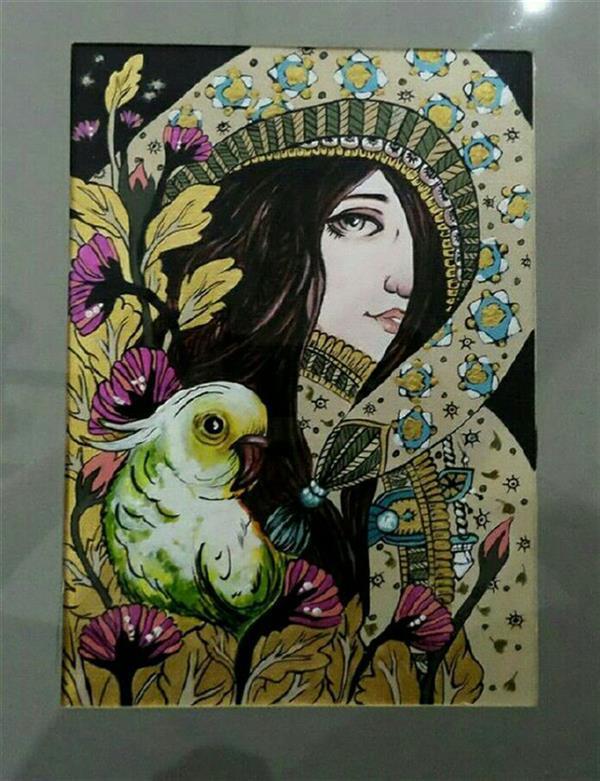 هنر نقاشی و گرافیک محفل نقاشی و گرافیک شقایق قیدی #تکنیک اکریلیک روی مقوا  دکوراتیو  سایزa4