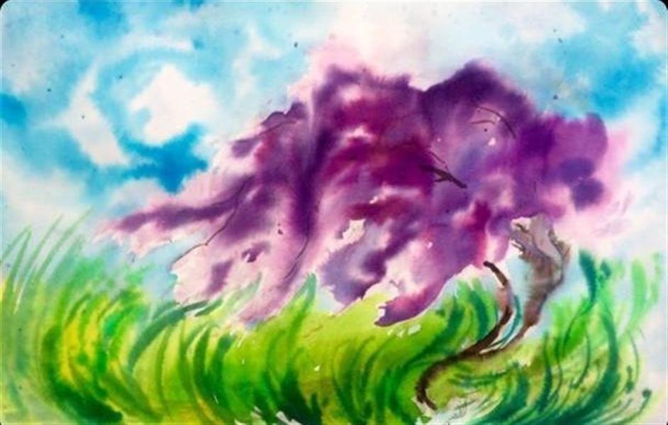 هنر نقاشی و گرافیک محفل نقاشی و گرافیک Azadeh sadeghi javid نام اثر : دیوانه  سایز ۵۰ . ۷۰ آبرنگ + اکولین