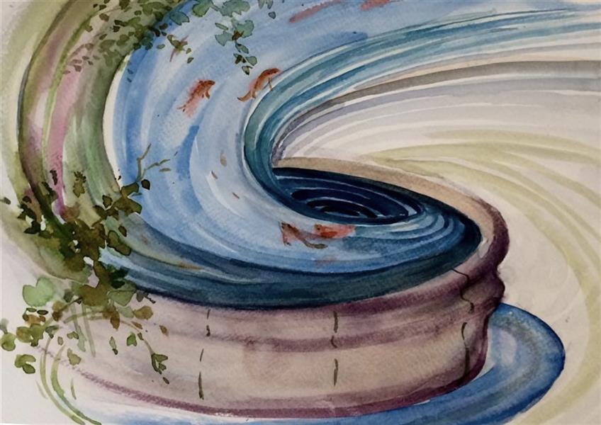 هنر نقاشی و گرافیک محفل نقاشی و گرافیک Azadeh sadeghi javid عنوان : ماهی قرمز من تنگ بلور جای تو نیست دل به دریا زدن ، مقصد توست خانه ی شیشه ای دریا نیست متریال : آب رنگ  بدون قاب