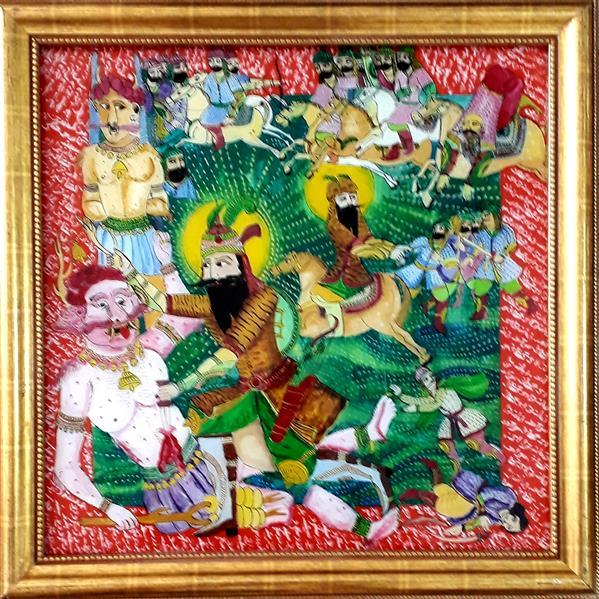 هنر نقاشی و گرافیک محفل نقاشی و گرافیک بهزاد نقاش کارزار رستم    نقاشی پشت شیشه ۵۰/۵۰