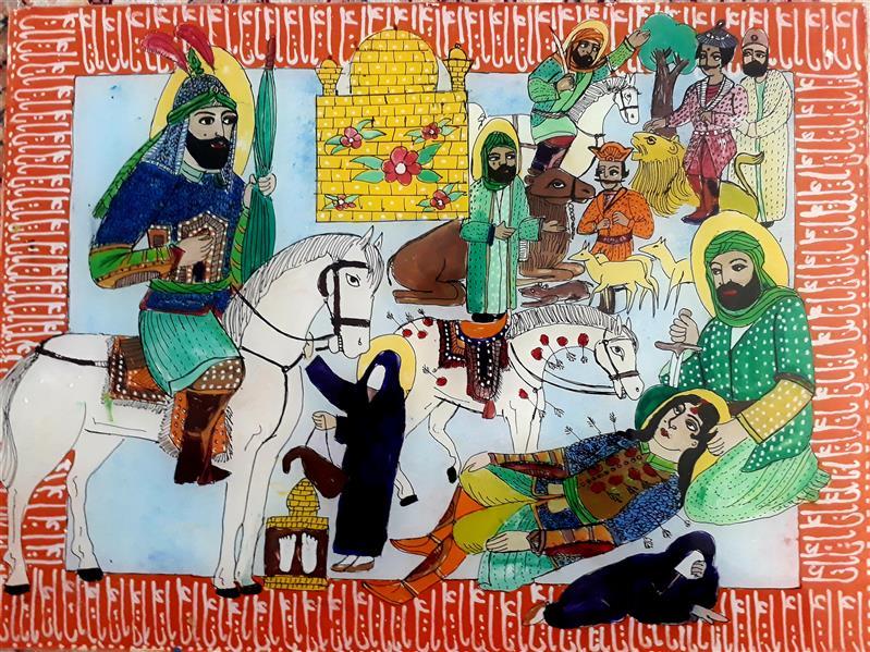 هنر نقاشی و گرافیک محفل نقاشی و گرافیک بهزاد نقاش شمایل پشت شیشه ۳۰ در۴۰