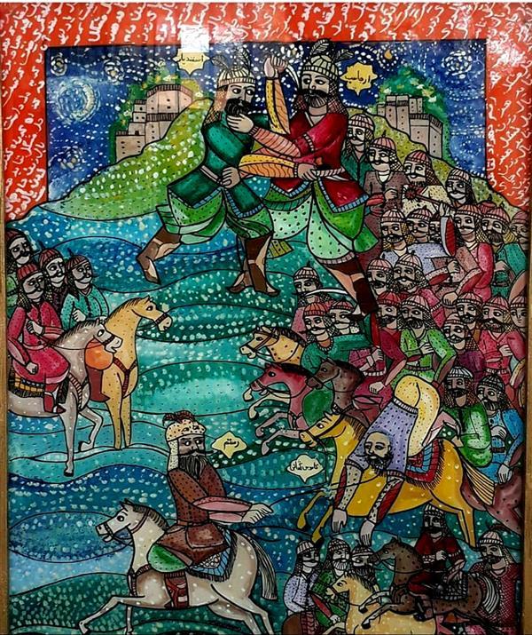 هنر نقاشی و گرافیک محفل نقاشی و گرافیک بهزاد نقاش شبهای رستم   نقاشی پشت شیشه       اندازه۴۰  در ۵۰