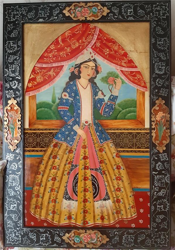 هنر نقاشی و گرافیک محفل نقاشی و گرافیک آناهیتا زنوزی عنوان:#زن#قاجار تکنیک:# آکریلیک،#لاکی  ابعاد ۶۴×۹۴ سانت(با قاب) فروخته شد .