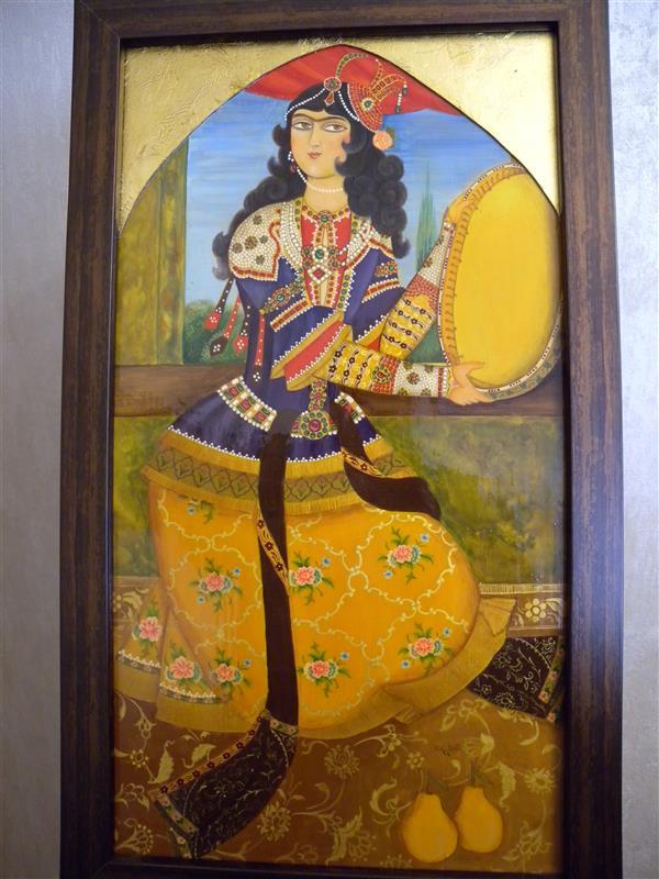 هنر نقاشی و گرافیک محفل نقاشی و گرافیک آناهیتا زنوزی #نقاشی#لاکی #قاجاری#مطرب#حلکاری#نگارگری ابعاد ۴۶×۲۴ سانت (ابعاد بدون قاب)