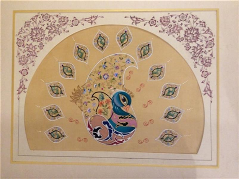 هنر نقاشی و گرافیک محفل نقاشی و گرافیک آناهیتا زنوزی طرح طاووس  تلفیق هنر #تذهیب #گل و مرغ  تکنیک : # گوآش#آبرنگ ابعاد: ۵۱x۶۴ سانت شرکت در دوسالانه تبریز ( نگارگری) ۱۳۹۸هجری شمسی